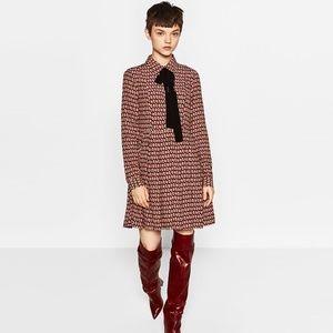Zara Black Bow Tie Long Sleeve Mini Flare Dress